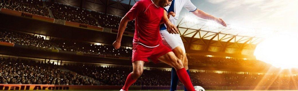 Fußball Spieler in Aktion panorama, Quelle: Eugene_Onischenko/istockphoto