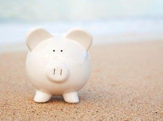 Sparschwein auf den Strand