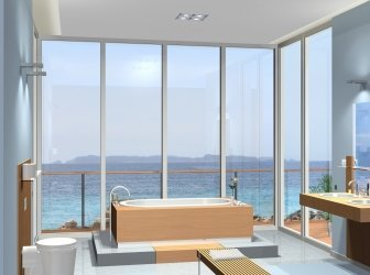 Modernes Badezimmer mit fantastischem Blick