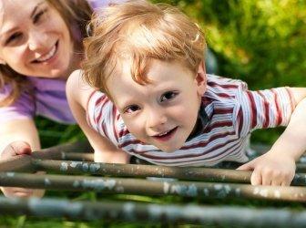 Familie im Sommer auf einer Leiter zum Baumhaus