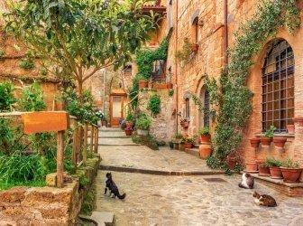 Wunderschöne Gasse in der Altstadt von der Toskana