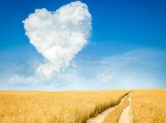 Herzförmige Wolke und gelbe Felder