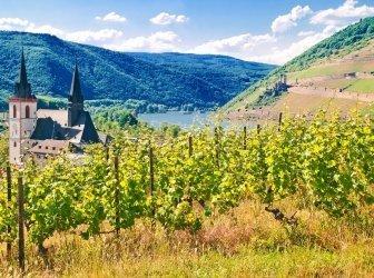 Uhr Rheinknie bei Bingen mit Burg Ehrenfels